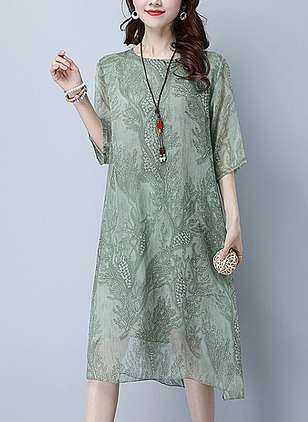 Cotton Solid Half Sleeve Knee-Length A-line Dress