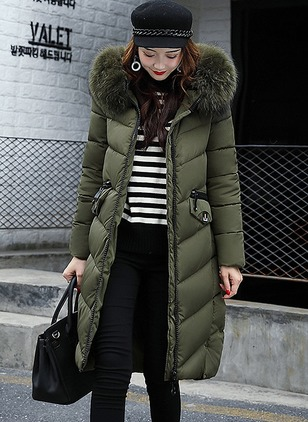 Cotton & Cotton Blend Long Sleeve Hooded Zipper Coats