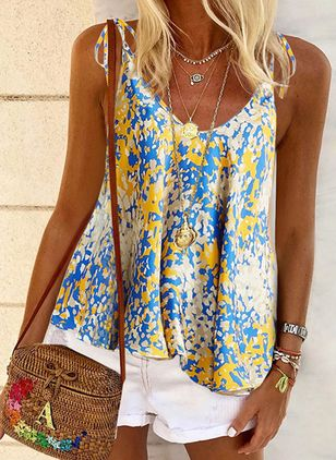 Floral Camisole Neckline Sleeveless Casual T-shirts
