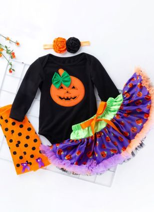 Girls' Halloween Color Block Daily Long Sleeve Clothing Sets (112236633)