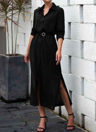 Elegant Solid Shirt Collar X-line Dress (4043672)