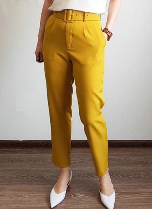 Casual Straight Pockets High Waist Polyester Pants (146746878)
