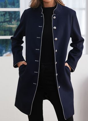 Long Sleeve Stand Collar Buttons Pockets Coats Jackets (102459238)