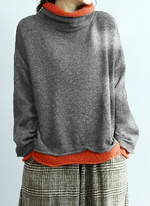 High Neckline Color Block Loose Regular Shift Sweaters