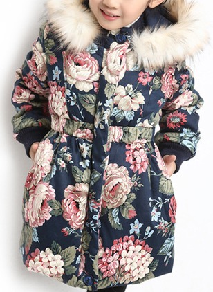 Girls' Vintage Floral Hooded Coats