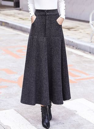 Solid Maxi Elegant Buttons Pockets Skirts (1259692)