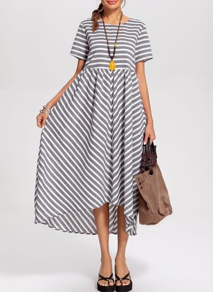 Cotton Stripe Short Sleeve Maxi A-line Dress