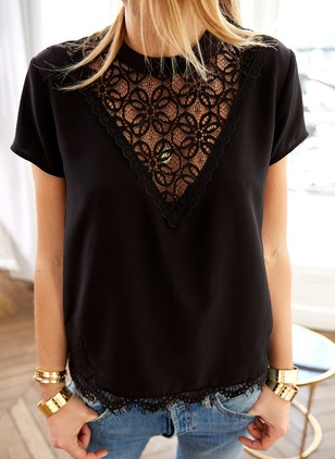 Solid Polyester Round Neckline Short Sleeve Blouses