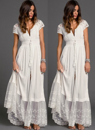 Solid Tassel Peasant Maxi A-line Dress