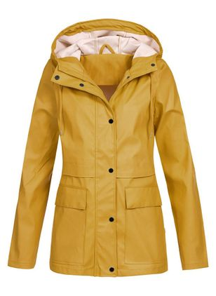 Long Sleeve Hooded Buttons Pockets Coats (102930652)