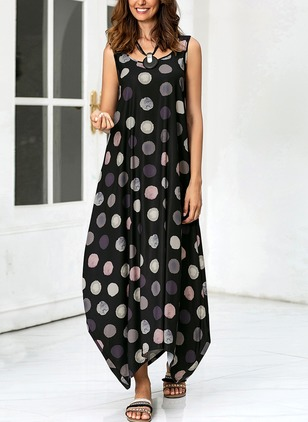 Polka Dot Tank Sleeveless Maxi Shift Dress