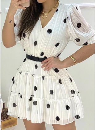 Casual Polka Dot Skater V-Neckline X-line Dress (100669032)