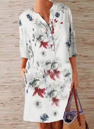 Casual Floral Tunic V-Neckline Shift Dress (5502370)