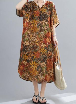 Plus Size Tunic Floral V-Neckline Casual Midi Plus Dress (4049385)