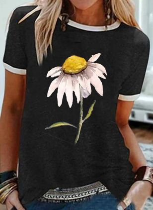 Floral Round Neck Short Sleeve Casual T-shirts (4045396)