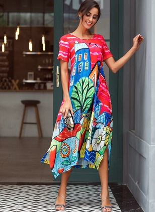 Floral Short Sleeve Maxi A-line Dress