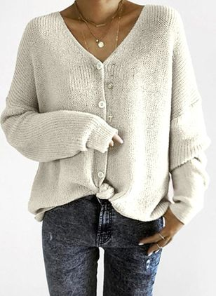 V-Neckline Solid Loose Regular Buttons Sweaters (1260293)