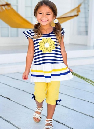 Girls' Color Block Daily Cap Sleeve Clothing Sets