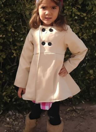 Girls' Basic Solid Collarless Coats