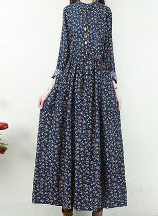 Casual Floral Peasant Round Neckline X-line Dress (111109591)