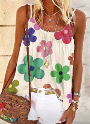 Floral Casual Camisole Neckline Sleeveless Blouses (4072022)
