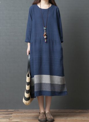 Casual Color Block Tunic Round Neckline A-line Dress (108088625)