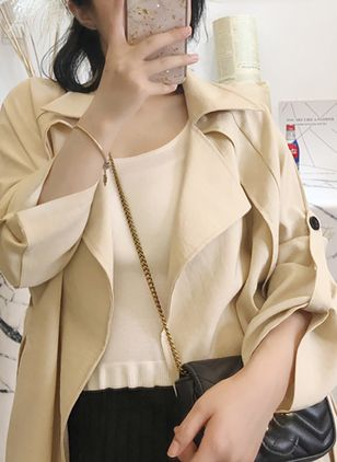 3/4 Sleeves Lapel Trench Coats