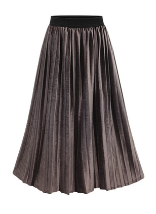 Polyester Solid Mid-Calf Casual Neutral Gray Black Skirts