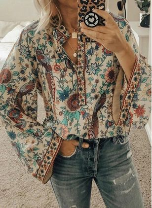 Floral Casual Round Neckline Long Sleeve Blouses (122031438)