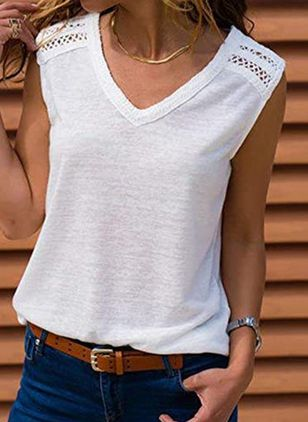 Solid V-Neckline Sleeveless Casual T-shirts (1528915)