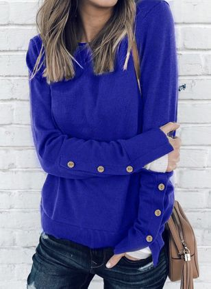 Round Neckline Solid Loose Regular Buttons Sweaters