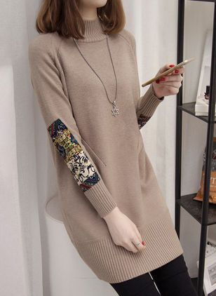 Casual Floral Sweater Round Neckline Shift Dress (1438936)