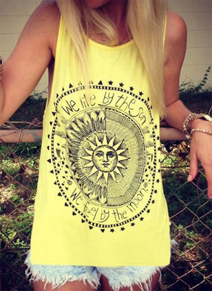 Polyester Floral Round Neck Sleeveless Casual T-shirts