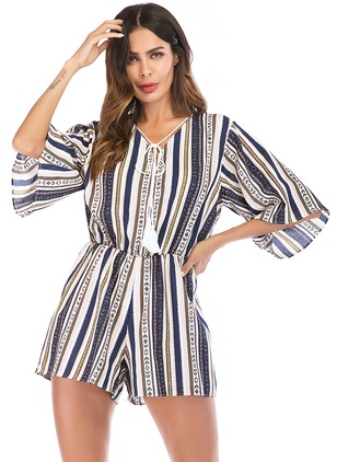 Polyester Geometric Half Sleeve Jumpsuits & Rompers