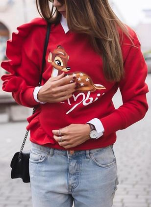 Animal Christmas Round Neckline Sweatshirts