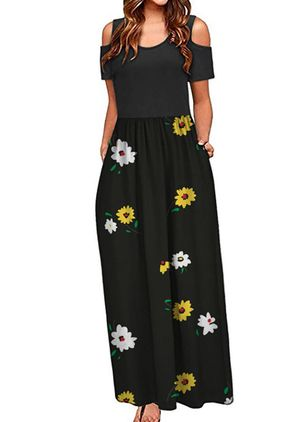 Casual Floral Round Neckline Maxi X-line Dress (147221492)