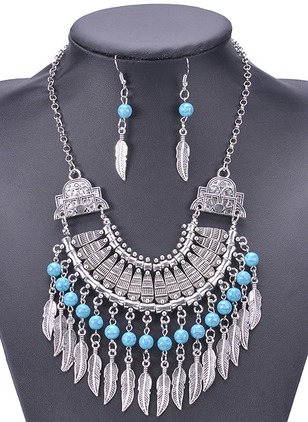 Tassel Ball No Stone Necklace Earring Jewelry Sets