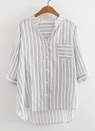 Stripe Cotton V-Neckline Half Sleeve Blouses