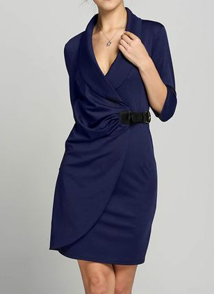 Elegant Solid V-Neckline Knee-Length A-line Dress (1064887)