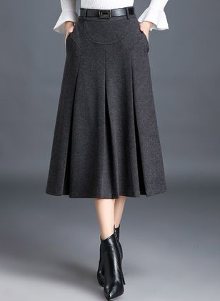 Solid Mid-Calf Casual Pockets Sashes Skirts