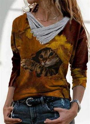 Animal V-Neckline Long Sleeve Casual T-shirts (146877281)