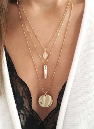 Casual Geometric No Stone Pendant Necklaces (104917752)