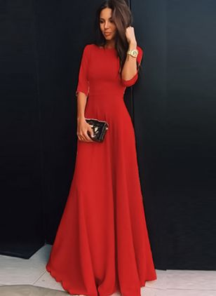 Solid 3/4 Sleeves Maxi A-line Dress