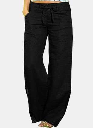 Casual Loose Pockets Mid Waist Polyester Pants (146884334)