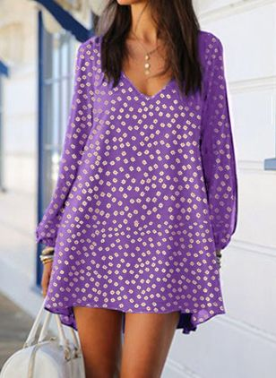 Casual Floral Tunic V-Neckline Shift Dress (104701899)