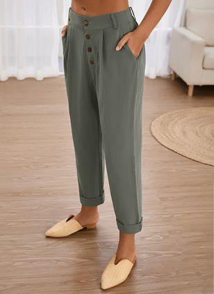 Casual Straight Pockets High Waist Cotton Pants (1526786)