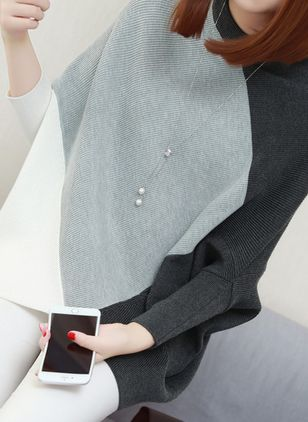 High Neckline Color Block Loose Long Shift Sweaters