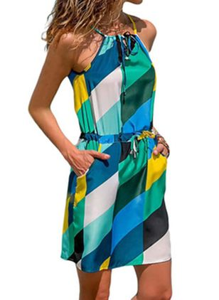 Casual Color Block Skater Halter Neckline X-line Dress (100001993)