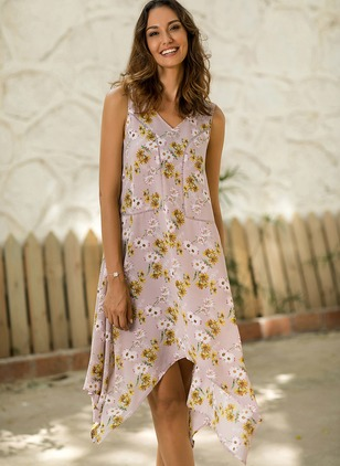 Cotton Floral Sleeveless High Low Shift Dress