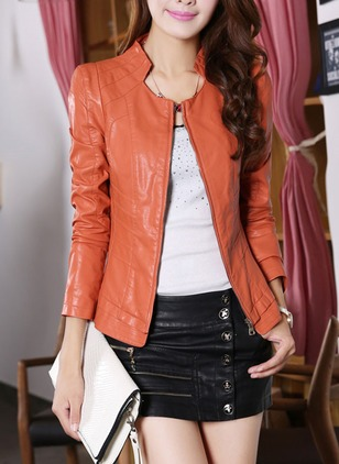 Leather & Faux Leather Long Sleeve Collar Zipper Windproof  ...